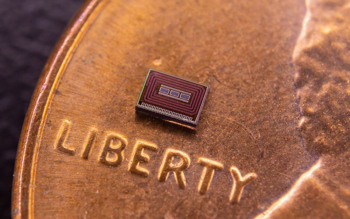 chip size in comparison to a penny, credit: David Baillot/UC San Diego Jacobs School of Engineering