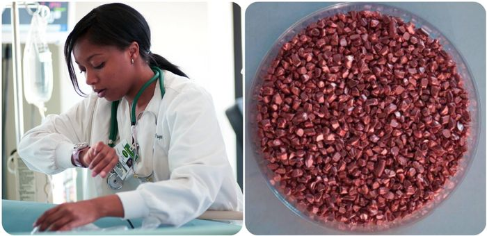image of nurse in uniform and copper in a dish, credit: COD Newsroom on Flickr, european-coatings.com