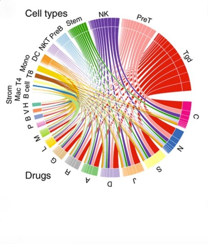 A visual representation of the interactions between classes of drugs (represented by letters along the bottom half of the circle) and responses in immune cells. This map really underscores how complex the drug-immune system interactome really is. For full explanation, see figure 3A in Kidd 2016, Nature Biotech.