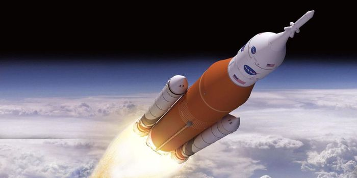 An artist's rendition of NASA's SLS rocket.