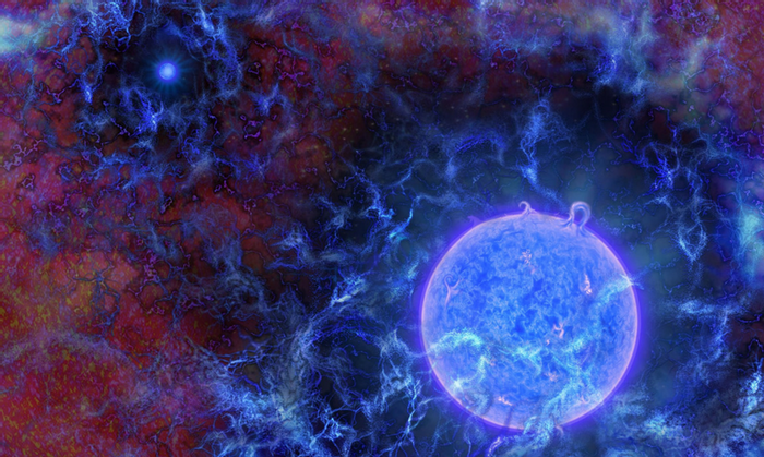 An artistic rendition of the universe's first stars. Credit: NR Fuller/NSF