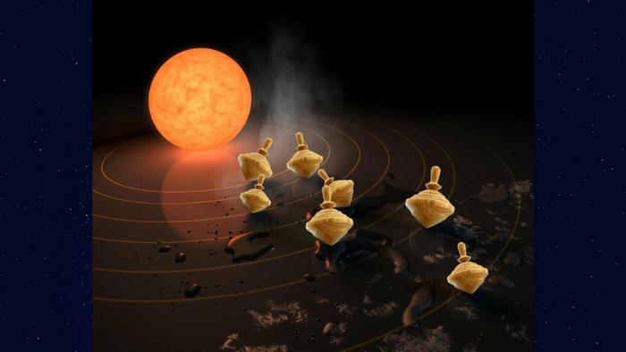 An artistic rendition of over-tilting exoplanets (NASA/JPL-Caltech)