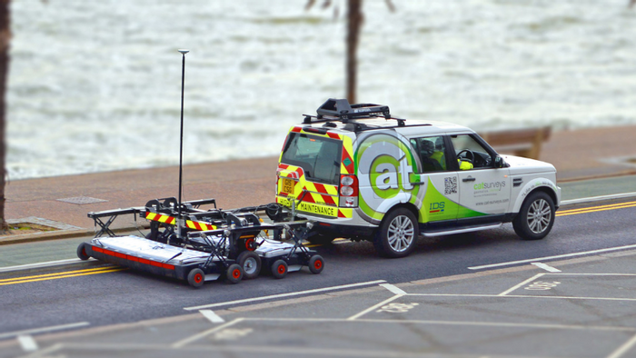 Mobile GPR unit behind an SUV (Matt Ball/Informed Infrastructure)