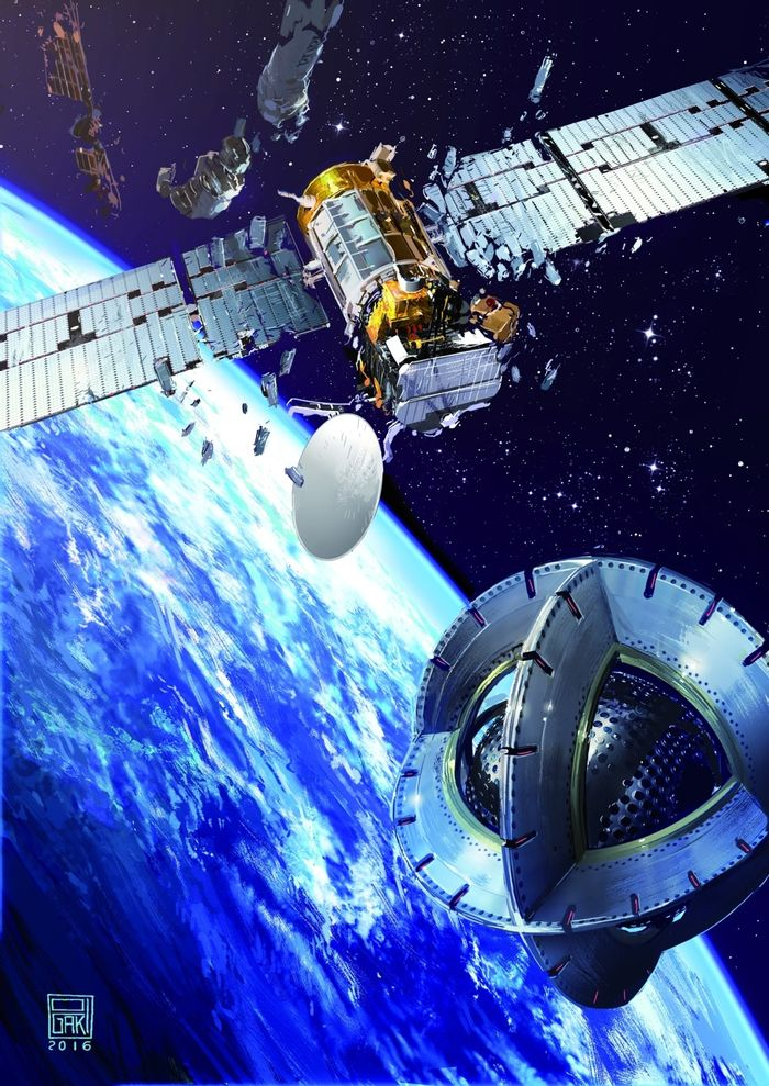 An artist's impression of a magnetic space tug as it approaches an inactive satellite orbiting Earth.