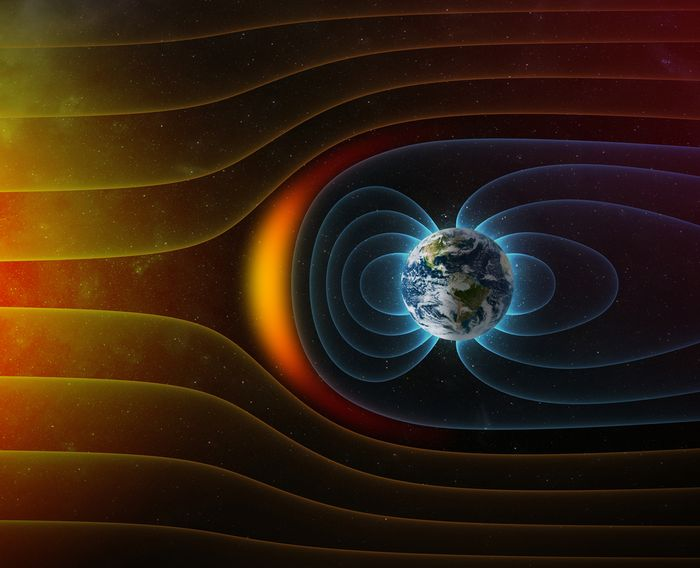 Earth's magnetic field shields the planet from solar wind emanated by the Sun.
