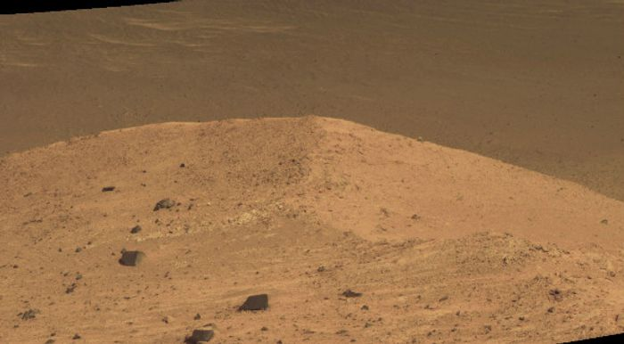 An image of of floor of the Endeavour Crater that the Opportunity Rover will seek to explore.