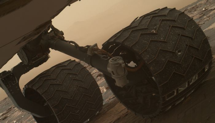 The tread (or growsers, as NASA calls them) is beginning to break on Curiosity's wheels.