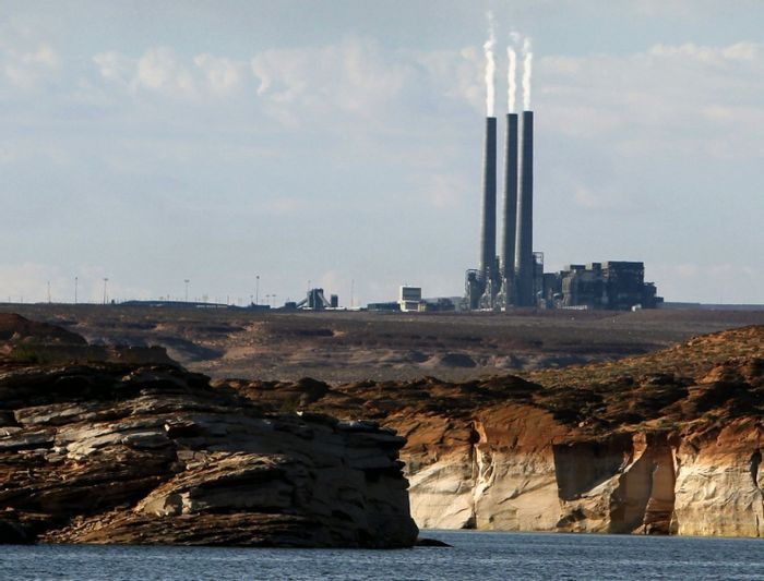 The main plant facility at the Navajo Generating Station, as seen from Lake Powell. Photo: Ross D. Franklin/AP