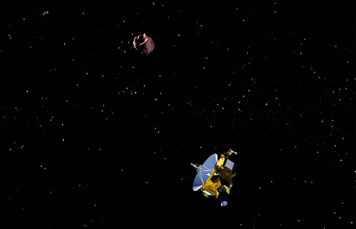 An artist's impression of New Horizons flying past 2014 MU69.