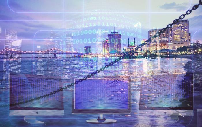 collage of city skyline, computer data illustration, credit: public domain