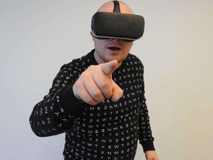 Person using VR, public domain