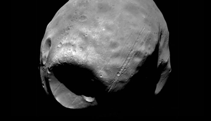 Phobos has a very strange Death Star-like crater on its surface.
