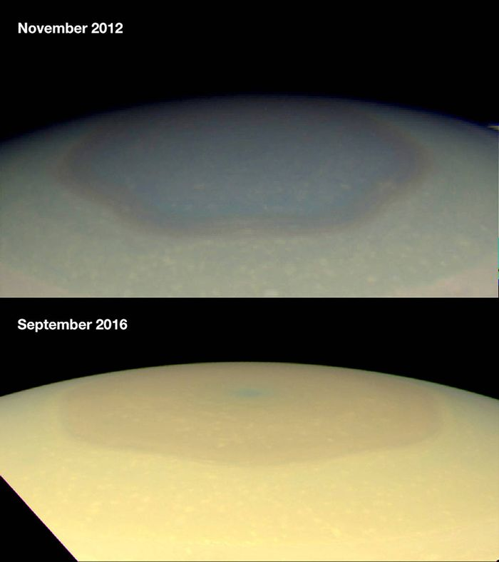 Differences in the hexagon at Saturn's North Pole between 2012 and 2016.