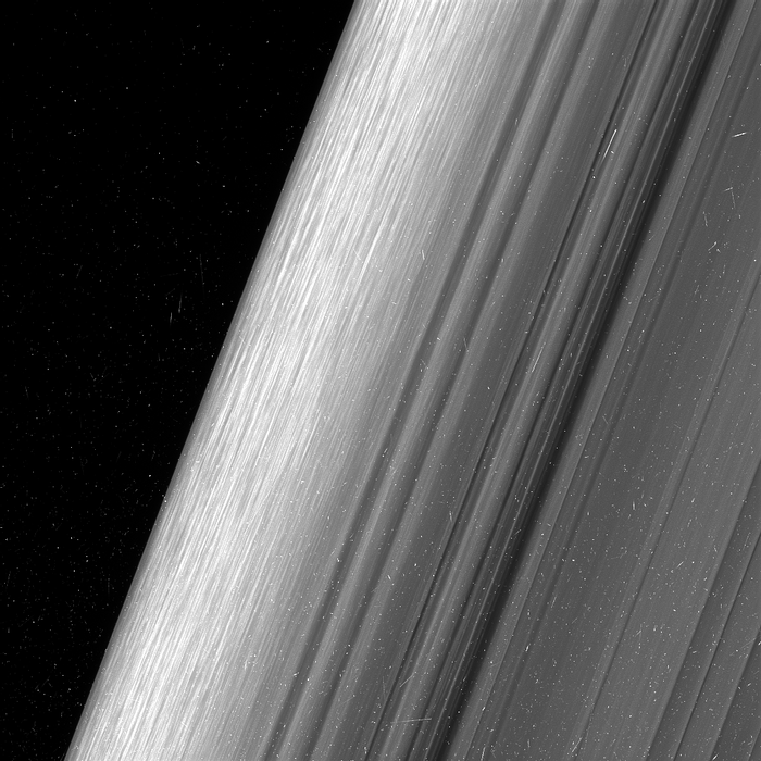 This image shows the horizon of Saturn's outer B ring, and also shows more of the details hidden in the rings.