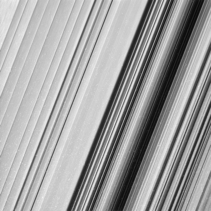 This capture shows some of the formations inside of Saturn's B ring.