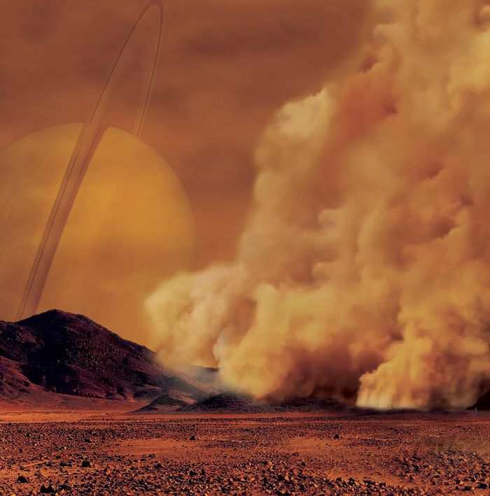 An artist's impression of an atmospheric dust storm occurring on Saturn's moon Titan.