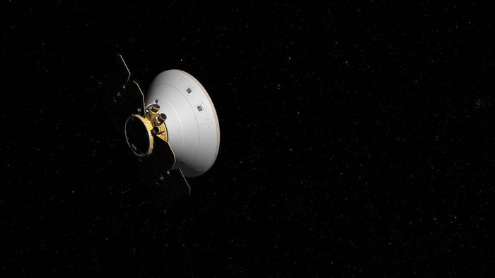 An artist's impression of the InSight spacecraft as it moves through space.