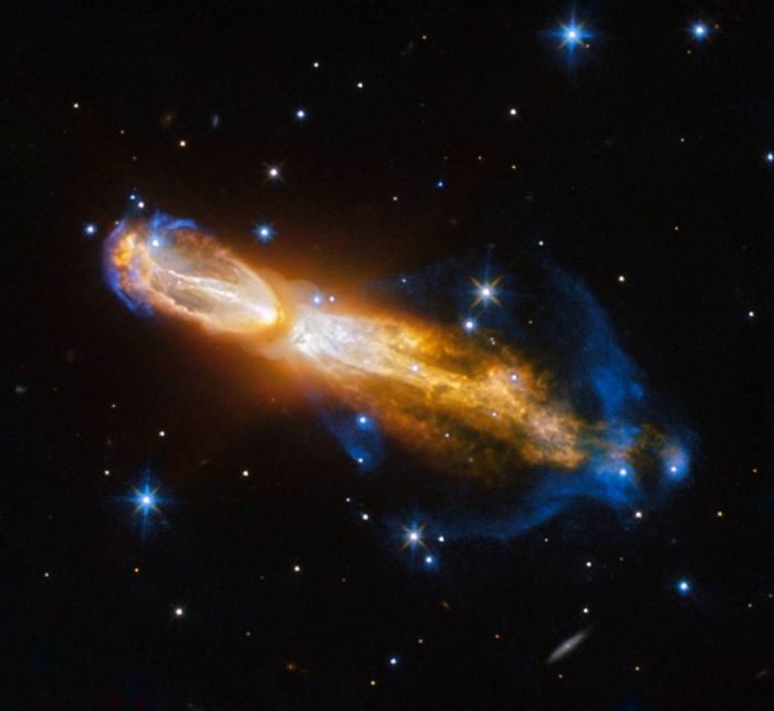 Hubble captured the following star explosion, which astronomers are currently observing.