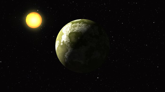 An artist's rendition of an Earth-like exoplanet orbiting another star.