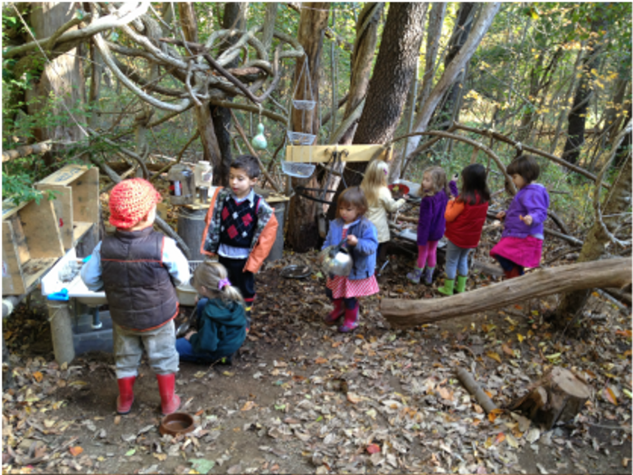 Children explore an outdoor classroom at Eyes of the World Discovery Center Preschool. Photo: eyesoftheworlddiscoverycenter.weebly.com