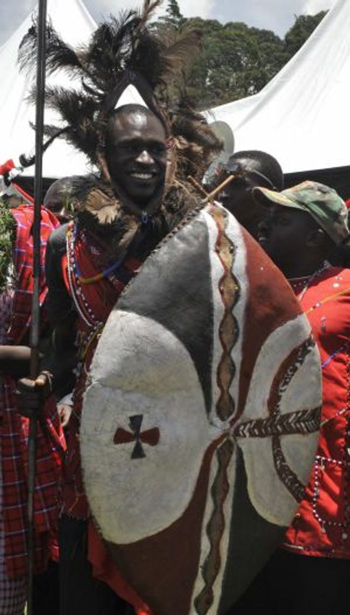 David Rudisha is made a warrior during a home-coming party in 2010. Photo: AFP