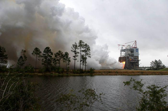 NASA's RS-25 rocket engine burns during a bench test performed last week.
