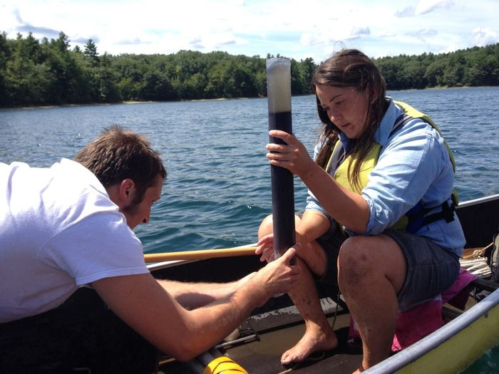 Stager's students collect data from Walden Pond. Photo: CBC via Curt Stager