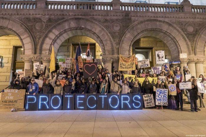 Water protectors gather. Photo: DeSmog Blog