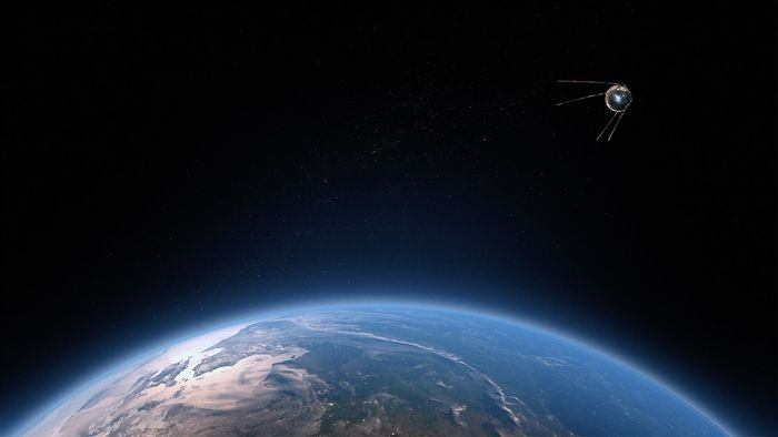A satellite orbits the Earth.