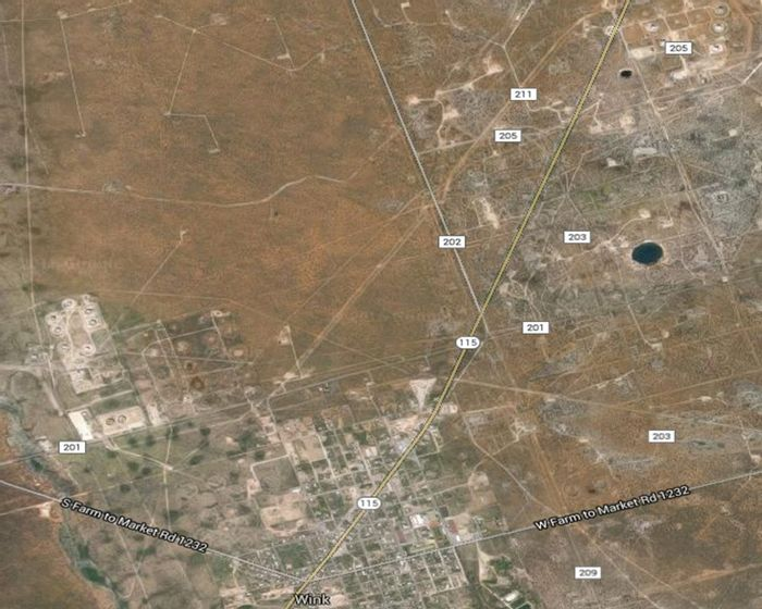 These are the two sinkholes near Wink, Texas, on the left. (Google Images)