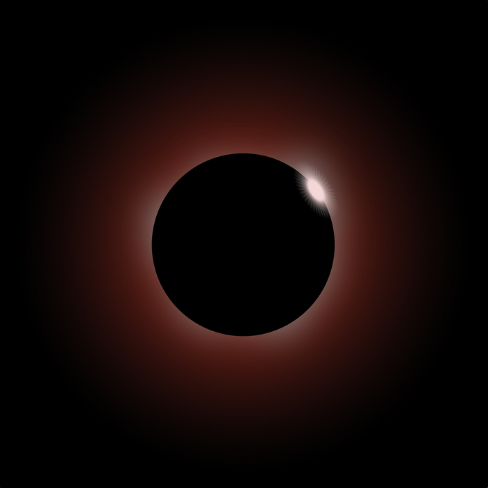 An artist's rendition of a total solar eclipse, where the Sun's light is blocked by the Moon.