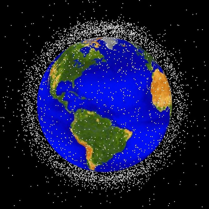 An artist's depiction of the space junk surrounding Earth. (Not drawn to scale, nor 100% accurate))