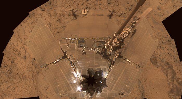 Martian dust covers Spirit's solar panels.